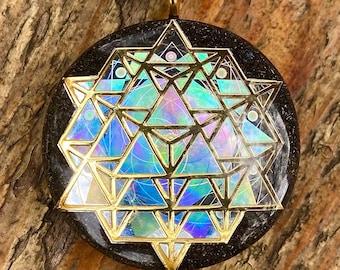 64 Tetrahedron - Sacred Geometry Holographic Orgone Tesla Pendant- EMF Blocker - Chakra Balancing - FREE Necklace - Hand Made