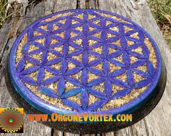 CUSTOM-Made to Order-  Orgone Flower of Life Power Plate 10 inch - Any Color - Structure Drinks -Energy Balance - Sleep Aid - EMF Protection