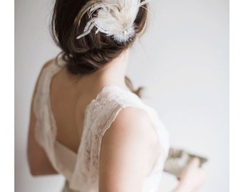 Feather Hair Clip - Blush and Ivory - Hannah