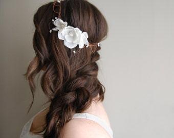Boho Floral Crown, Bridal Headpiece, Ivory Wedding Crown, Woodland Flower Crown, Ivory Flower Crown