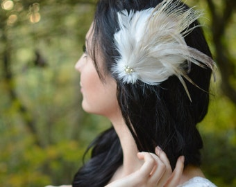 Bridal Feather Hairpiece Blush Ivory White Feather Fascinator