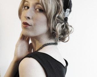 Vintage Jewel 1920s Feather Hair Clip - 1920s Hair clip Flapper Black and Sparkle
