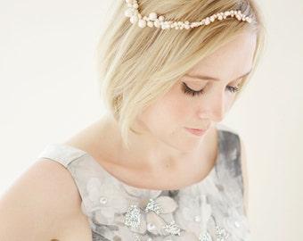 Bridal Pearl Headpiece, Bridal Pearl Vine, Ivory Headpiece - Celeste