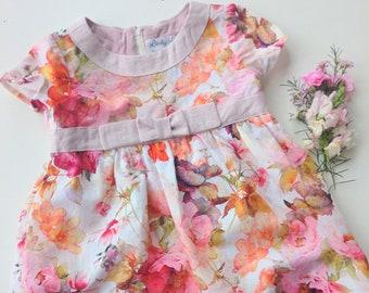 Audrey floral linen dress  for girls bridesmaid party dress