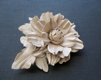 White off leather flower brooch, Leather flower pin, Handmade leather flower, Bridal flower, Mothers day gift, Mother of  bride flower