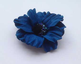 Royal blue leather flower brooch, Leather brooch, Handmade flower, Bridesmaid flower, Mother of the bride flower, Mothers day gift, Gift