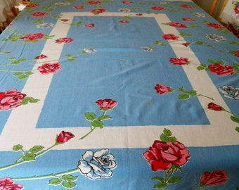 Vintage 40s Tablecloth 50s Tablecloth Floral Tree Print Rayon Tablecloth 51 x 53