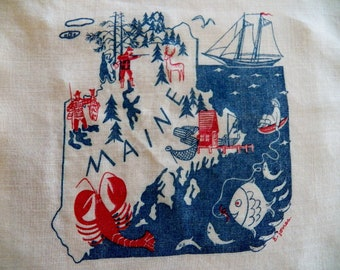 RARE Vintage STATE of MAINE Hankie with Fabulous Graphics Signed by Designer E. Jones