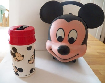 Vintage  1980's Walt Disney Mickey Mouse Thermos and Case by Aladdin in Great Condition