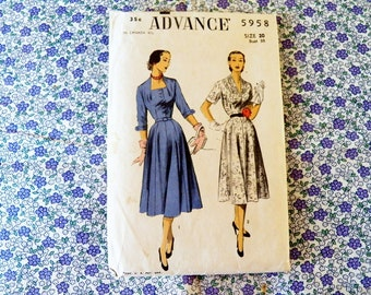 Rare 1940's ADVANCE Dress Sewing Pattern UNCUT Excellent Condition #5958 Size 20 Bust 38 Collectible Pattern