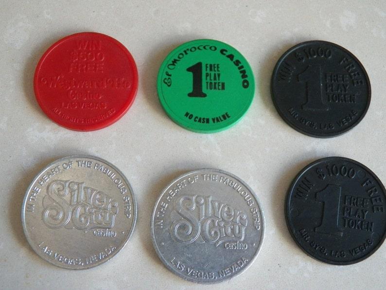 Set of Six Vintage 1970 Las Vegas Souvenir Tokens from Various Casinos
