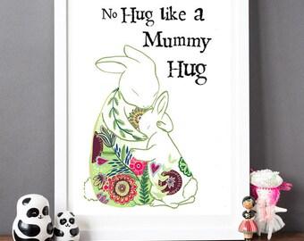Mummy Hugs Rabbit Print - Mother's Day Gift