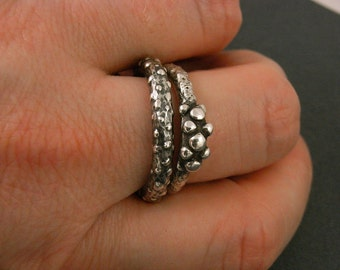 Sterling silver ring - sea urchin abstract design - handmade and unique -  size 9