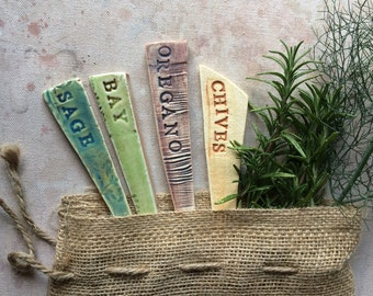 Ceramic Herb Garden Markers Set of 4 and Gift Bag