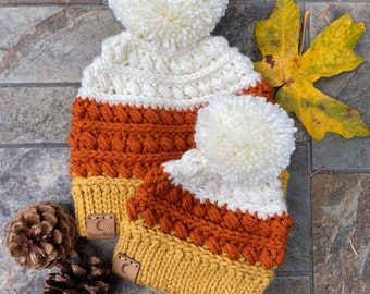 Candy Corn Beanie Sizes Newborn/Baby, Toddler/Child AND Adult Made to Order