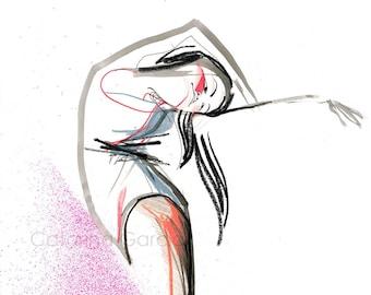 Original Ballerina Ballet Dancer Drawing