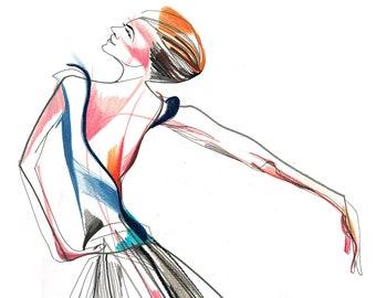 Original Expressive Dance Drawing