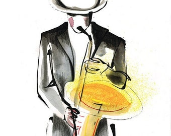 Original Musician Saxophonist Drawing Series