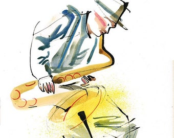 Original Musician Saxophonist Musician Drawing Series