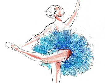 Original Ballet Dance Drawing – Watercolor and Ink on Paper