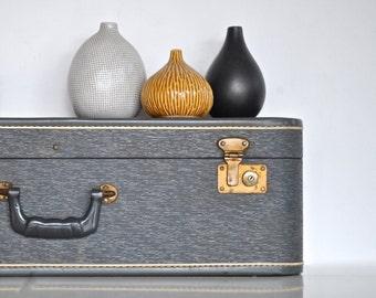 Suitcase Wall Shelf - Gray Blue Mid Century Luggage Turned Shelf