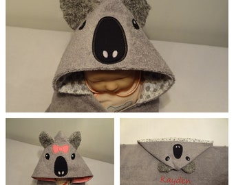 Koala Bear Hooded Towel Girl or Boy -Opt Personalization- lined hood fits 2 sizes 0-8 years old - snap closure