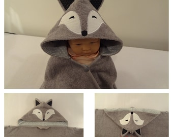 Boy Fox Hooded Towel-Optional Personalization- lined hood fits 2 sizes 0-8 years old - snap closure