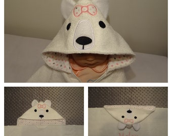 Polar Bear Hooded Towel Girl or Boy -Opt Personalization- lined hood fits 2 sizes 0-8 years old - snap closure