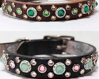 "Design Your Own Swarovski Crystal Dog Collar, 3/4"" Wide Leather Dog Collar"