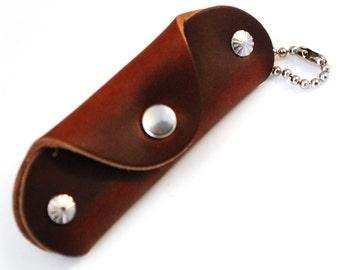 Brown Horween Chromexcel Slim Leather Key Case