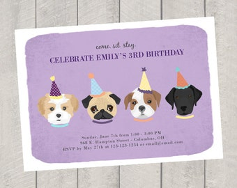 dog theme birthday invitation childrens birthday invite