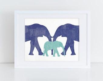 Elephant Nursery Art Print - 8x10