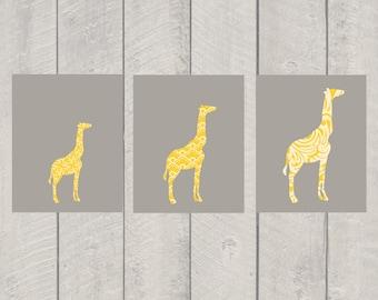 Nursery Art Print Set - Growing Giraffe - Set of 3 - 8x10