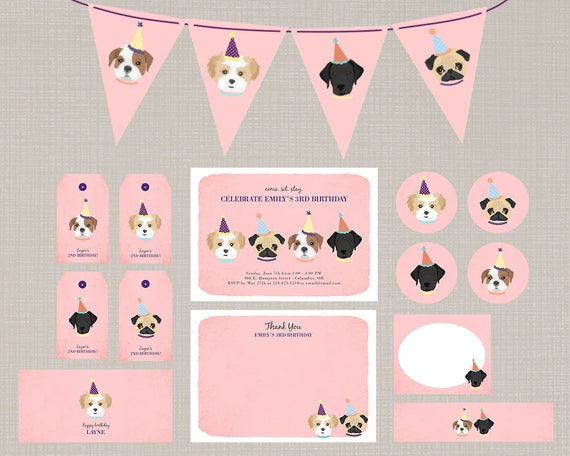 Dog Theme Birthday Party Decor Set Pink Printable