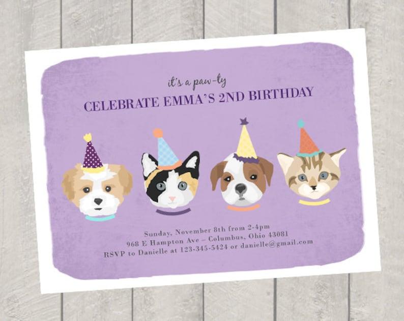 Cat And Dog Theme Birthday Invitation Childrens