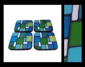 Pastiche: South Sea - Stained Glass Mosaic Coasters