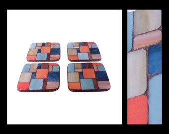 Pastiche: Sand & Sky - Stained Glass Mosaic Coasters