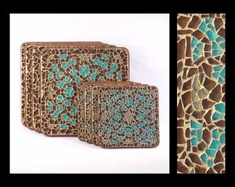 Silk Road - Glass Mosaic Coaster & Trivet Set