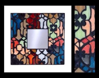 """Mediterranean - Stained Glass Mosaic Mirror (10""""x10"""")"""