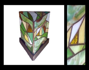 Abstract Green - Three Panel Stained Glass Accent Lamp