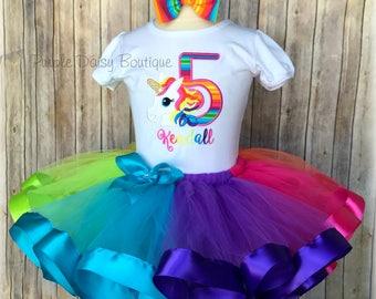 ce1ab2a32 Bright Rainbow Unicorn Ribbon Trimmed Tutu Outfit - Unicorn Birthday Tutu  Set - Rainbow Unicorn Party Dress First Birthday Second Birthday