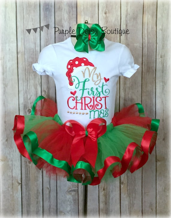 Christmas Tutu Outfits.My First Christmas Ribbon Trim Tutu Outfit Baby S First