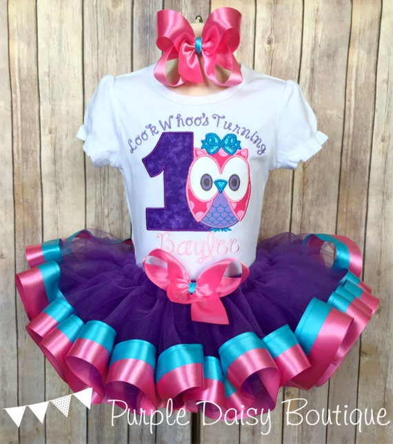 787f4d4fc Look Whoo's Turning One Owl Theme First Birthday Double Ribbon Trim Tutu  Outfit in Purple, Pink, and Turquoise