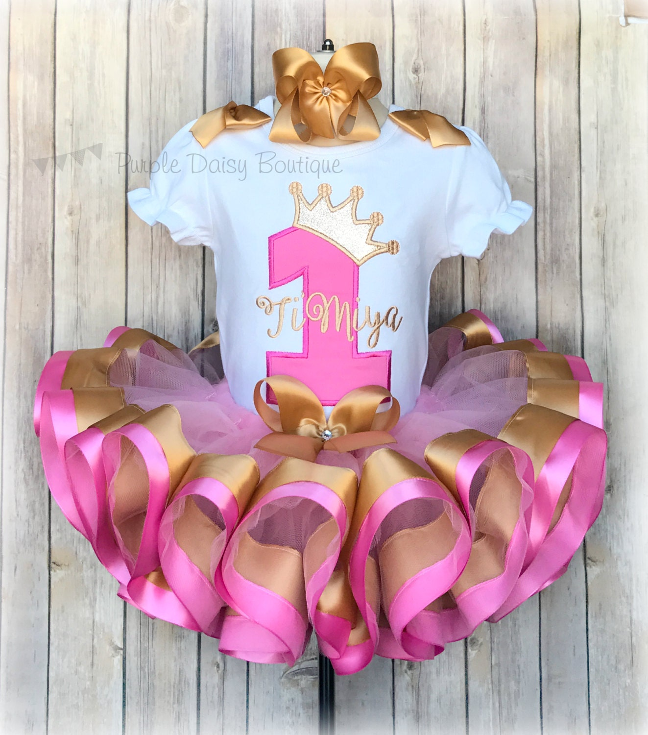 Princess Crown First Birthday Ribbon Trimmed Tutu Outfit