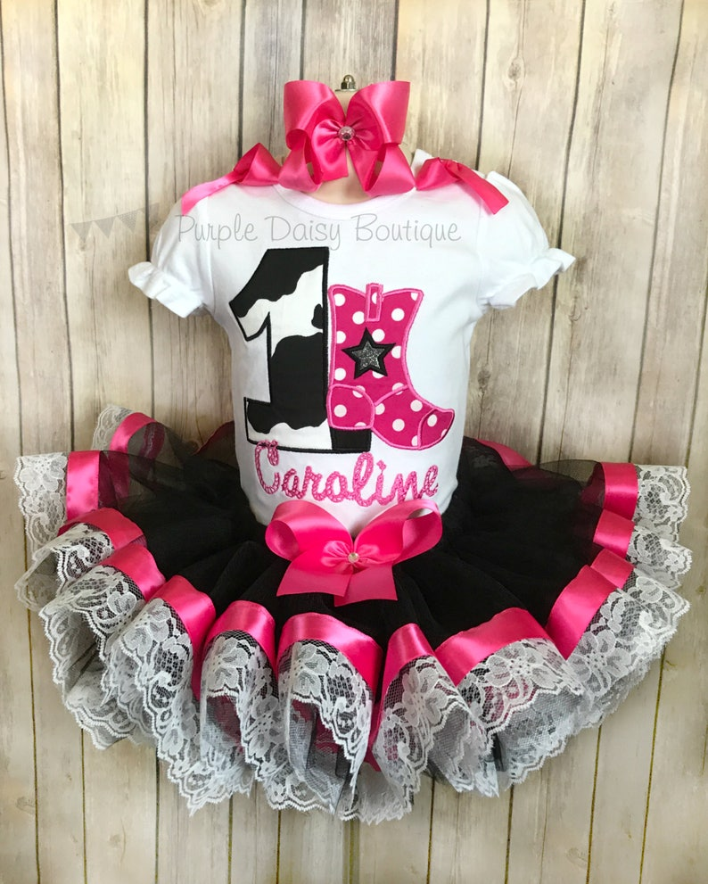 Cowgirl Birthday Outfit Ribbon Trimmed Tutu