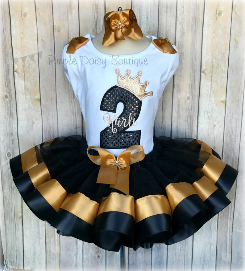 fac870432b4 Black and Gold Princess Birthday Ribbon Trimmed Tutu Outfit