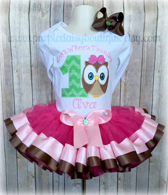 2ae546c2d Look Whoo's Turning One Owl Theme Personalized Birthday Double Ribbon Trim Tutu  Outfit Complete with Tutu, Bow, and Boutique Style Shirt