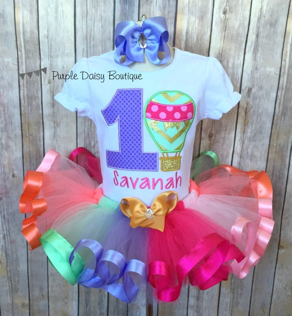 Hot Air Balloon Birthday Outfit Ribbon Trim Tutu Outfit