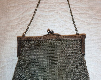 Antique Art Deco Silver Frame Brown Tan Cream Enamel Chain Mail Purse W&d Antiques