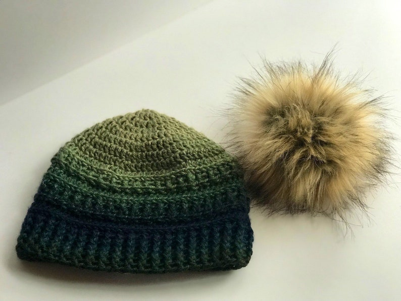 Ombre Beanie Hat with Removable Faux Fur Pom Pom